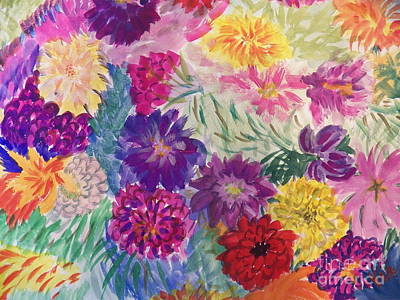 Painting - Ptg   Flower Garden by Judy Via-Wolff