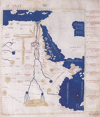 Ptolemys Map Of The Nile 2nd Century Art Print by Photo Researchers