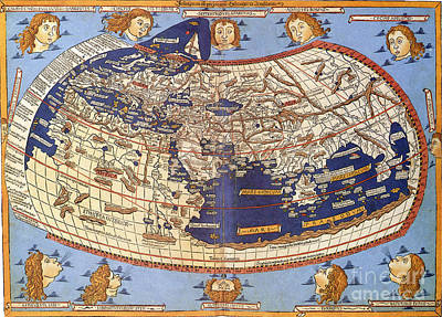Photograph - Ptolemys World Map 2nd Century by Photo Researchers