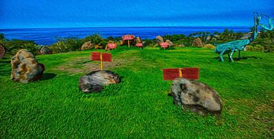 Henge Painting - Pua Mau Stonehenge by Omaste Witkowski