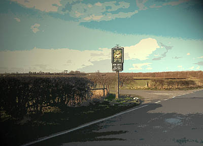 Pub Entrance Sign On Deep Dale Lane, This Driveway Leads Art Print by Litz Collection