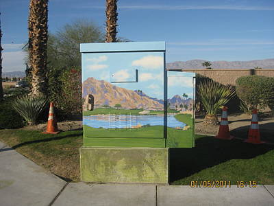 Boxes Painting - Public Art  17th Green At Silver Rock In La Quinta by Maria Hunt
