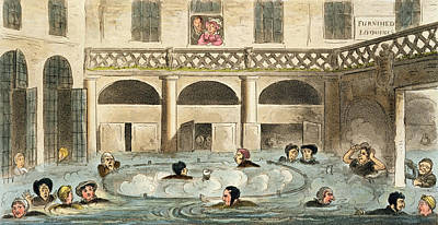 Public Bathing At Bath, Or Stewing Art Print by Isaac Robert Cruikshank