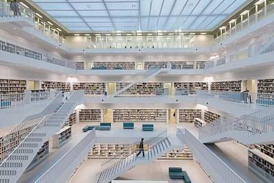 Public Library Stuttgart - Modern Architecture And Lots Of Books Art Print