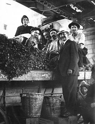 Vegetable Stand Photograph - Public Market Vegetable Stand by Underwood Archives