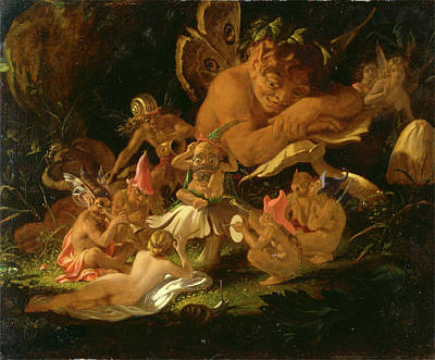 Puck And Fairies, From A Midsummer Nights Dream Elves Art Print by Litz Collection