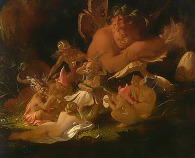 Gremlin Painting - Puck And Fairies From A Midsummer Night's Dream by Mountain Dreams