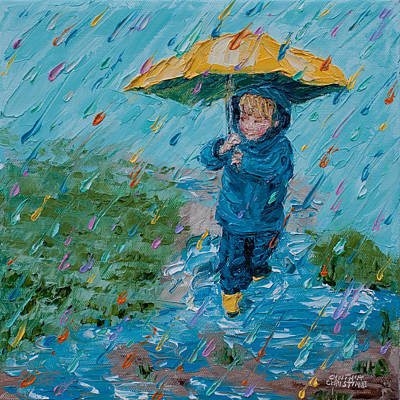 Puddle Jumping-my First Umbrella Original by Cynthia Christine