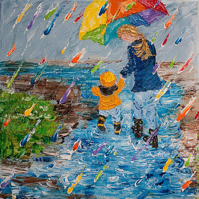 Grandkids Painting - Puddle Jumping No 2  by Cynthia Christine