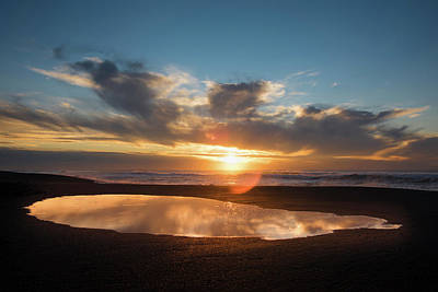 Point Reyes National Seashore Photograph - Puddle On The Beach At Sunset, Point by Panoramic Images