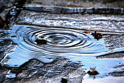 Photograph - Puddle Water Droplet by Aqil Jannaty