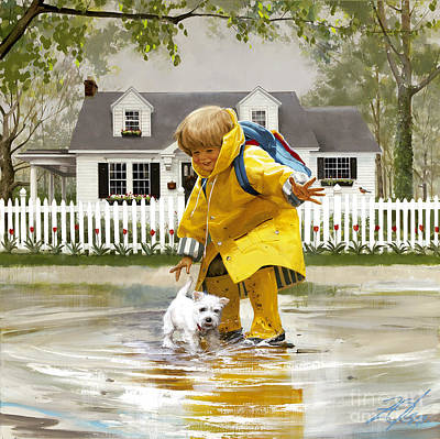 Westie Puppies Painting - Puddles And Splashes by Donald Zolan