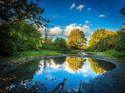 Art Print featuring the photograph Puddles. by Gary Gillette