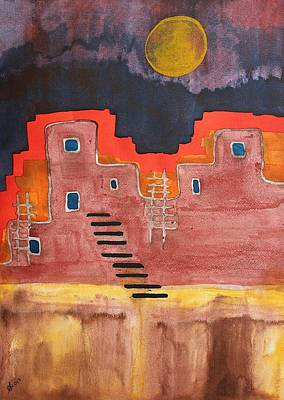 Watercolor With Pen Painting - Pueblito Original Painting by Sol Luckman