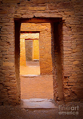 Illuminated Photograph - Pueblo Doorways by Inge Johnsson