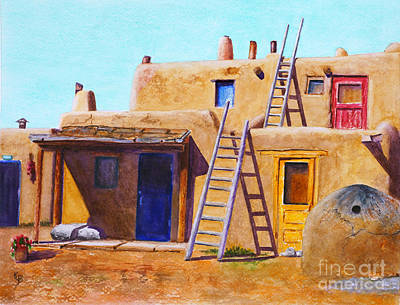 Art Print featuring the painting Pueblo by Karen Fleschler