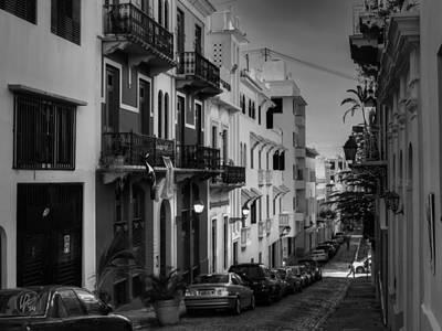 Photograph - Puerto Rico - Old San Juan 006 Bw by Lance Vaughn