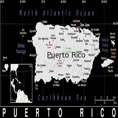Puerto Rico Exotic Map Art Print