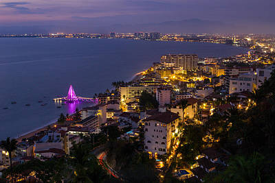 Photograph - Puerto Vallarta Night View by Shanti Gilbert