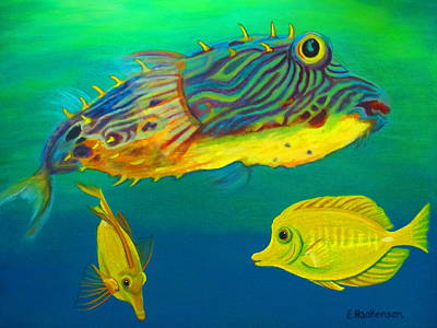 Puffer And Yellow Tangs Original by Elaine Haakenson