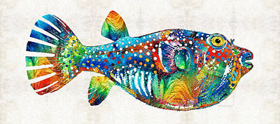 Colorful Tropical Fish Painting - Puffer Fish Art - Blow Puff - By Sharon Cummings by Sharon Cummings
