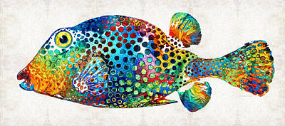 Colorful Tropical Fish Painting - Puffer Fish Art - Puff Love - By Sharon Cummings by Sharon Cummings