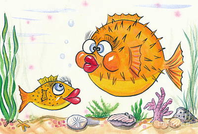 Puffer Fish Original by Gail Dolphin