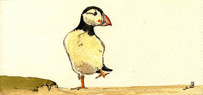 Puffin Bird Art Print by Juan  Bosco