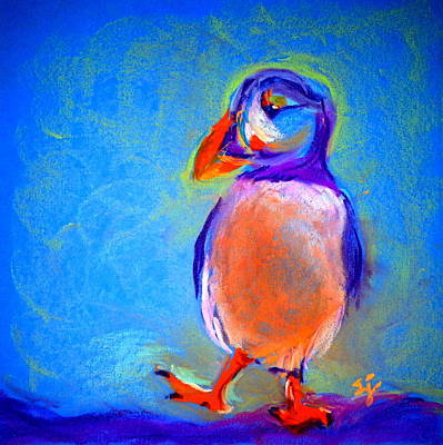 Puffin Painting - Funky Puffin Dancing by Sue Jacobi