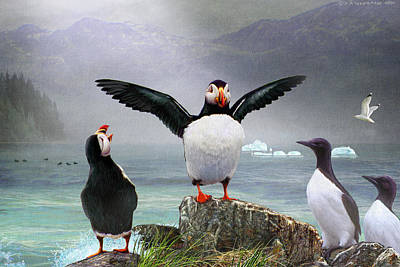 Razorbill Digital Art - Puffin Pano by R christopher Vest