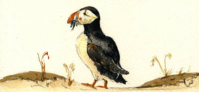 Puffin Painting - Puffin With Fishes by Juan  Bosco