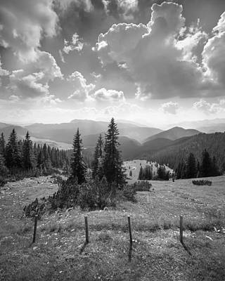 Zaun Photograph - Puffy Clouds And Pastures by Alexander Kunz