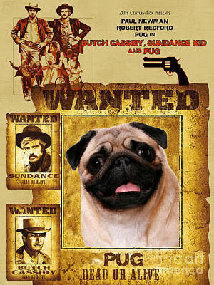 Pug Art - Butch Cassidy And The Sundance Kid Movie Poster Art Print by Sandra Sij