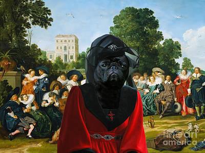 Pug Painting - Pug Art Canvas Print by Sandra Sij