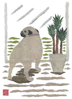 Pug Art Hand-torn Newspaper Collage Art Art Print by Keiko Suzuki Bless Hue