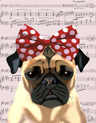 Pug Bow In Hair Art Print