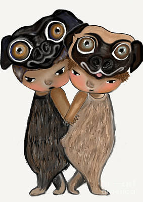 Pug Brothers Art Print by Beatrice Ajayi