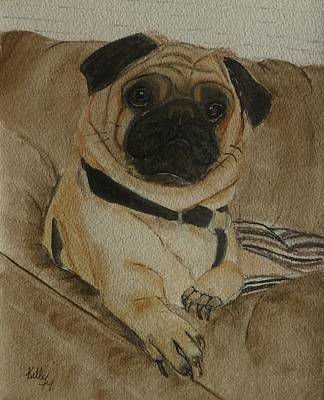Painting - Pug Dog All Ready To Cuddle by Kelly Mills