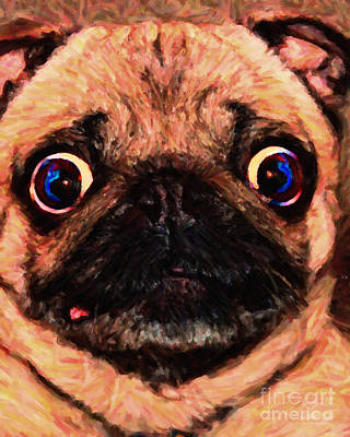 Photograph - Pug Dog - Painterly by Wingsdomain Art and Photography