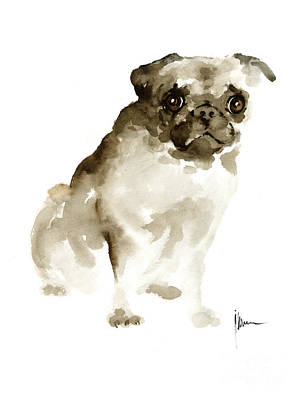 Dog Abstract Art Painting - Pug Dog Painting Watercolor Art Print Dog Large Poster by Joanna Szmerdt