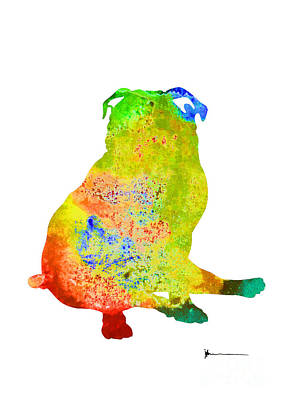 Dog Abstracts Mixed Media - Pug Dog Silhouette Colorful Poster by Joanna Szmerdt