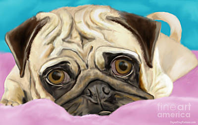 Purebred Digital Art - Pug by Idan  Badishi