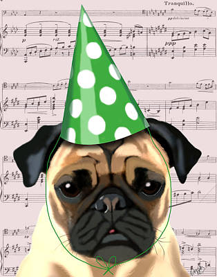 Pug In A Party Hat Print by Kelly McLaughlan