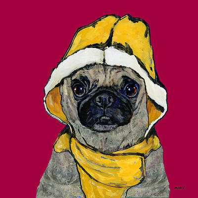 Painting - Pug In A Yellow Slicker by Dale Moses