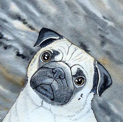 Painting - Pug by Laurie Anderson