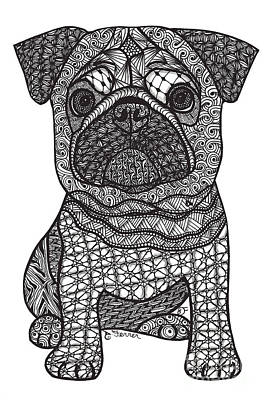 Drawing - Pug Love by Dianne Ferrer