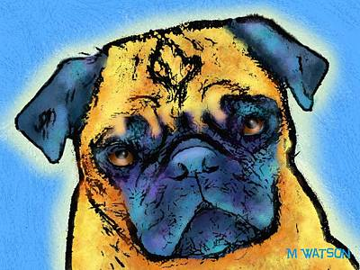 Adorable Digital Art - Pug by Marlene Watson