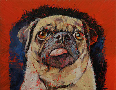 Cute Cartoon Painting - Pug Portrait by Michael Creese