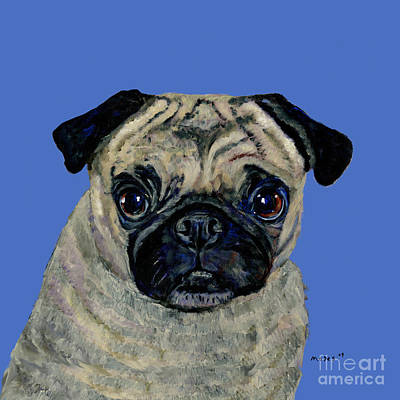 Pug On Blue Art Print