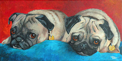 Painting - Pug Pair by Terry Albert
